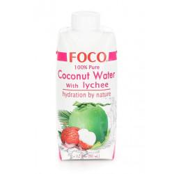 Органическая кокосовая вода FOCO Личи, 330 мл
