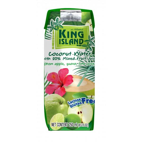 Кокосовая вода с фруктовыми соками (яблоко, лайм, гуава), 250 мл