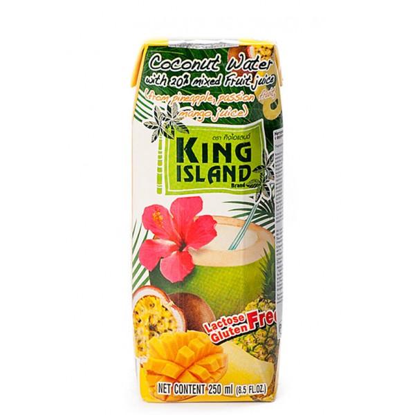 Кокосовая вода с фруктовыми соками (ананас, маракуйя, манго), 250 мл