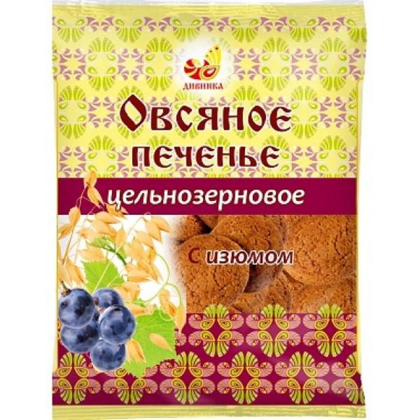 Печенье овсяное цельнозерновое с изюмом, 300 г