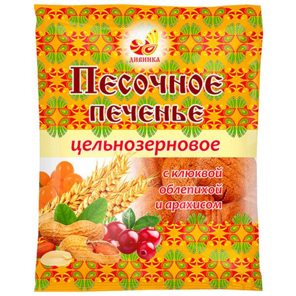 Печенье цельнозерновое песочное с клюквой и арахисом, 300 г