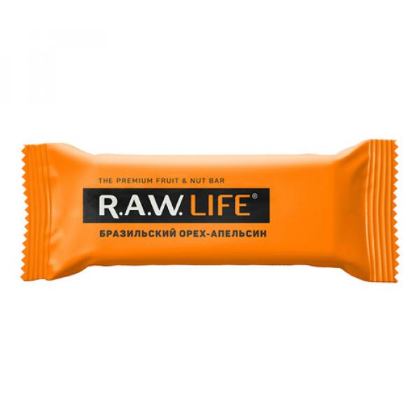"""Батончик орехово-фруктовый """"Бразильский орех-Апельсин"""" Raw Life, 47 г"""