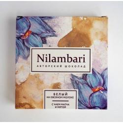 Шоколад Nilambari белый с чаем матча и мятой, 65 г