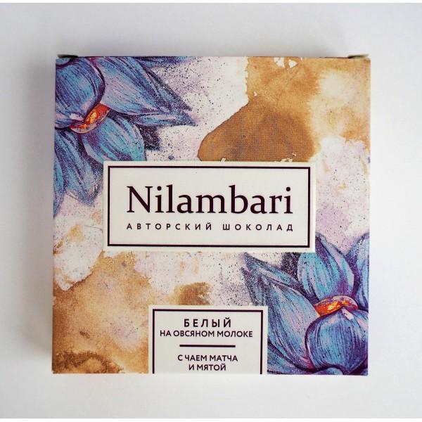 Шоколад Nilambari белый с чаем матча и мятой