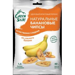 Натуральные банановые чипсы GreenShire Естественно сладкие. Без сахара, 40 г