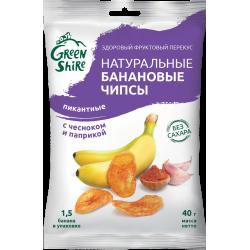 Натуральные банановые чипсы GreenShire Пикантные. С паприкой и чесноком, 40 г