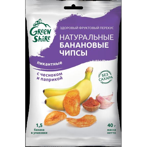 Натуральные банановые чипсы GreenShire Пикантные. С паприкой и чесноком