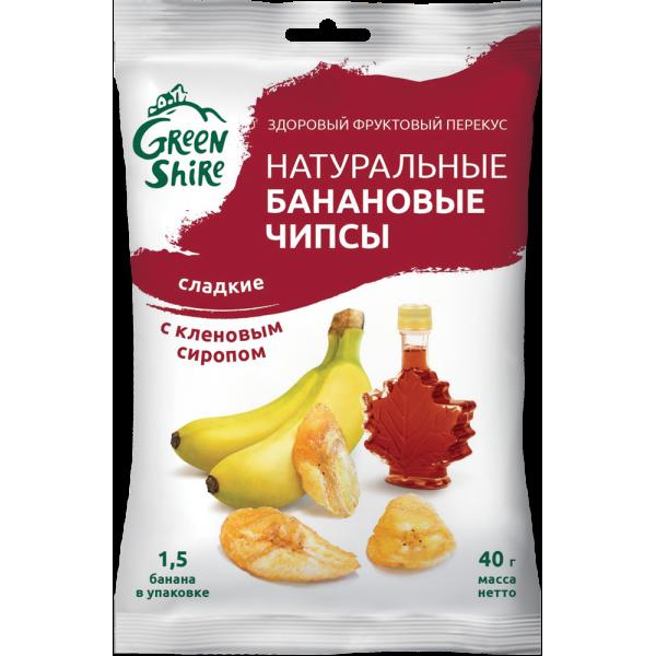 Натуральные банановые чипсы GreenShire Сладкие. С кленовым сиропом