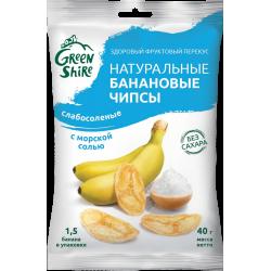 Натуральные банановые чипсы GreenShire Слабосоленые. С морской солью, 40 г