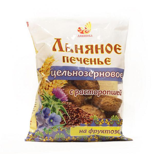 Печенье льняное цельнозерновое с расторопшей на фруктозе, 300 г