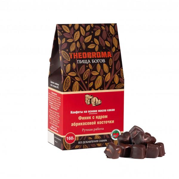 """Конфеты шоколадные без сахара """"Финик с ядром абрикосовой косточки"""" THEOBROMA Пища Богов, 160 г/60 г"""