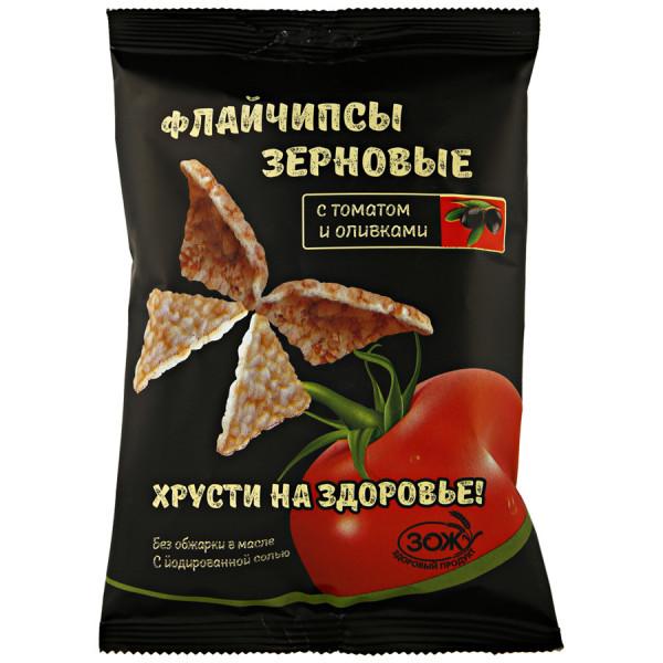 Флайчипсы зерновые с Томатом и Оливками, 40 г