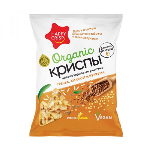 Криспы рисовые с Гречкой, амарантом и куркумой Happy Crisp, 50 г