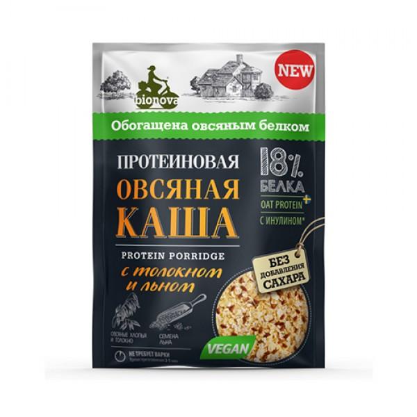 """Каша протеиновая """"Овсяная с толокном и семенами льна"""" Bionova, 40 г"""