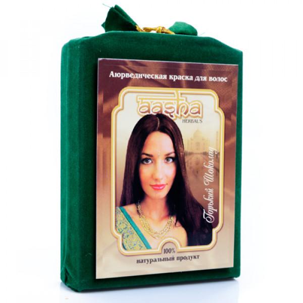 """Аюрведическая краска для волос """"Горький шоколад"""" Aasha Herbals, 100 г"""