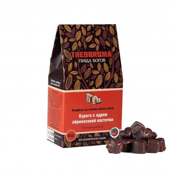 """Конфеты шоколадные без сахара """"Курага с ядром абрикосовой косточки"""" THEOBROMA Пища Богов, 160 г"""