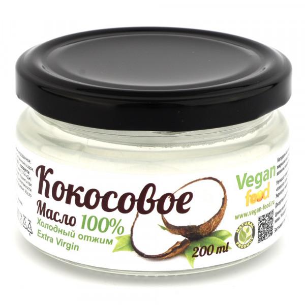 Кокосовое масло 100% натуральное, холодный отжим Extra Virgin Vegan food, 200 мл/500 мл