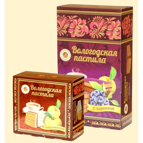 Вологодская пастила Классическая Яблочная с Черникой, 150 г