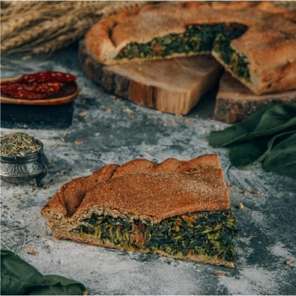 Кусочек полбяного пирога со Шпинатом и Вялеными томатами, 180 г