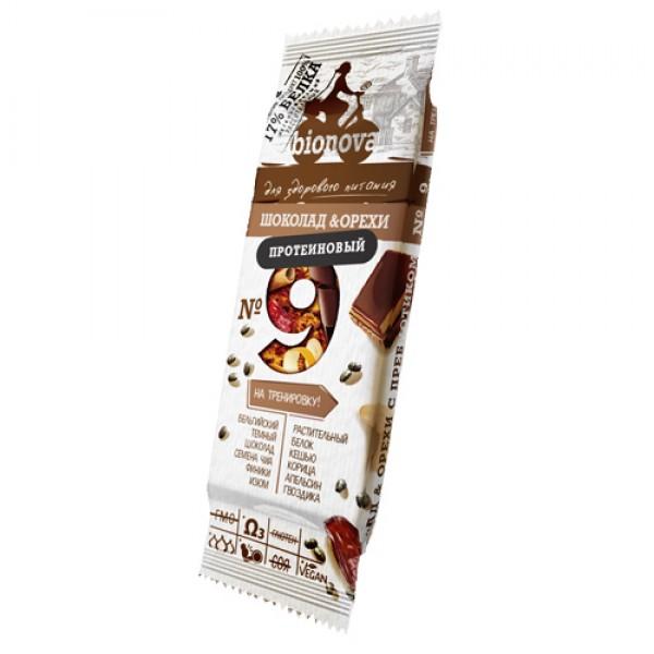 Протеиновый Батончик Bionova №9 Шоколад & Орехи, 35 г
