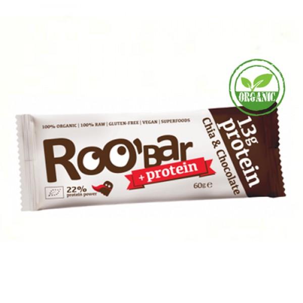 """Батончик протеиновый Roobar """"шоколадная крошка и ваниль"""" / Chia & Chocolate Protein Organic, 60 г"""