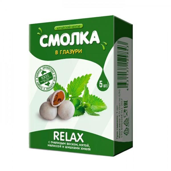 Смолка в глазури «Алтайская» RELAX с мятой, мелиссой и пчелиным воском, 5 шт.
