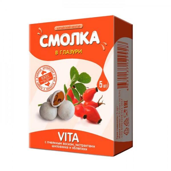 Смолка в глазури «Алтайская» VITA с шиповником, облепихой и пчелиным воском, 5 шт.