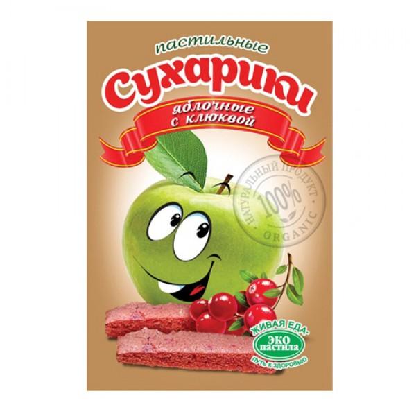 Пастильные сухарики Яблочные с клюквой, 60 г