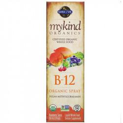 Спрей B12 органический Метилкобаламин со вкусом малины Garden of Life, 58 мл